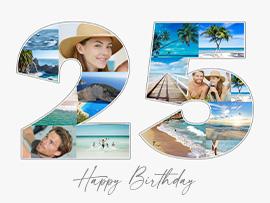 foto collage compleanno 25 con testo