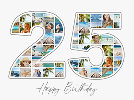 foto collage compleanno 25 grande con testo