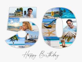 foto collage compleanno 50 con testo