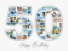 foto collage compleanno 50 grande con testo