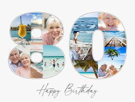 foto collage compleanno 80 con testo