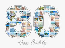 foto collage compleanno 80 grande con testo